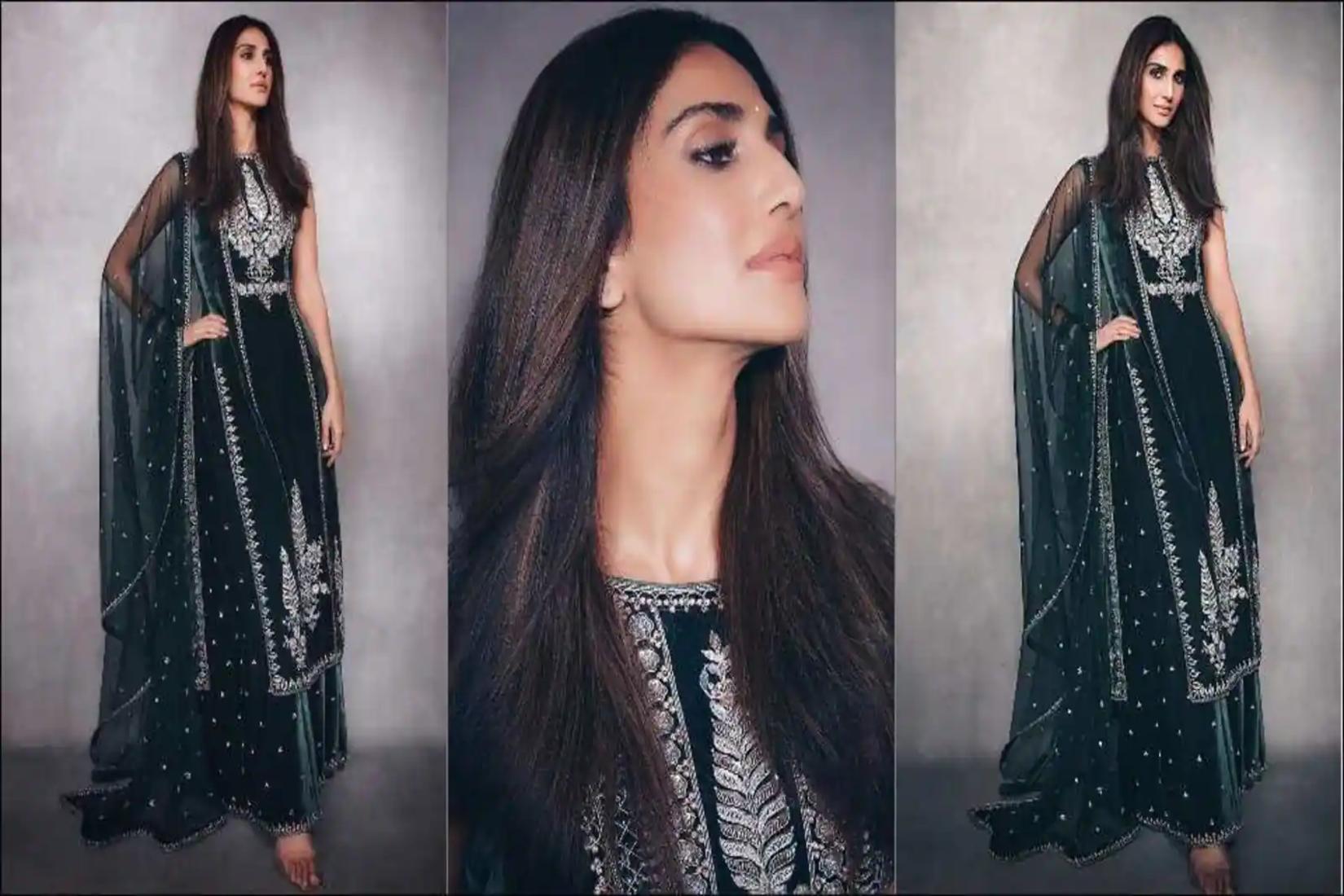 Vaani-Kapoor-Anita-Dongre-green-velvet-kurta-sharara-set